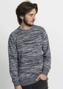 Crew Neck Flecked Knit navy / white / faded blue - recolution