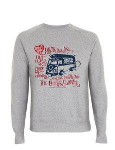 Bruce Brown Films 1960's VW Bus, Hippie Bus Grafik, Raglan Pullover - California Black Plate