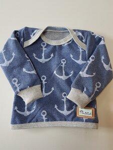 Babyshirt jeansblau mit Ankerdruck - Omilich