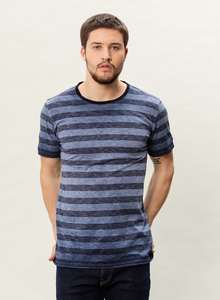 MOR-3052 HERREN GARMENT DYED GESTREIFT T-SHIRT - ORGANICATION