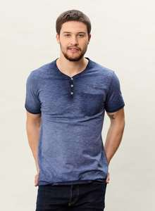 MOR-3097 HERREN GARMENT DYED HENLEY T-SHIRT MIT BRUSTTASCHE - ORGANICATION