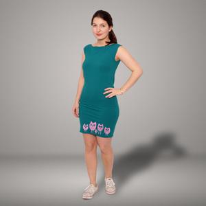 '5 kleine Eulen' Bio-Kleidchen Petrol - shop handgedruckt