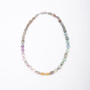 """Edelsteinkette """"Flor"""" aus Fluorit und Labradorit mit Collierschließe - steinfarben"""