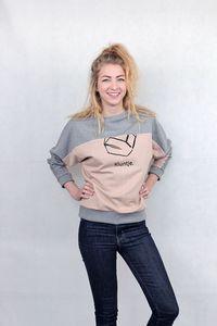 Fledermaus Pullover in Grau / Nude  Größe M - Kluntje