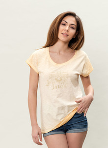 WOR-3080 DAMEN G.DYED T-SHIRT - ORGANICATION