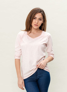 WOR-3098 DAMEN GARMENT DYED 3/4 ARM T-SHIRT - ORGANICATION