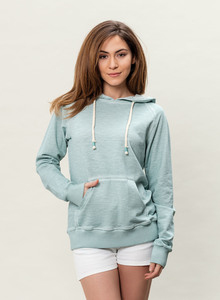 WOR-3118 DAMEN GARMENT DYED KAPUZENPULLOVER - ORGANICATION