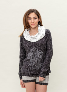 WOR-3122 DAMEN SCHALKRAGEN SWEATER - ORGANICATION