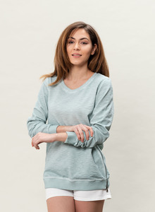 WOR-3114 DAMEN GARMENT DYED SWEATSHIRT - ORGANICATION