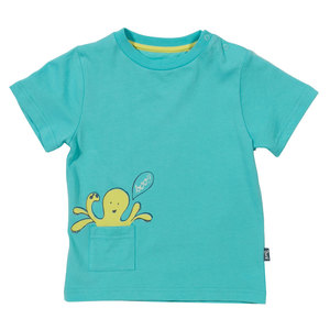 Jungen T-Shirt Octopus türkis ökologisch - Kite
