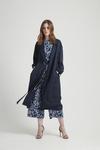 Elma Duster Coat - Navy - People Tree