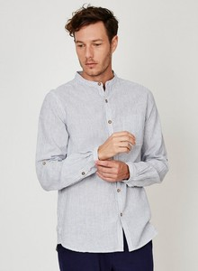 Randulf Grandad Collar Hemp Shirt - Yarn Dye Stripe  - Thought | Braintree