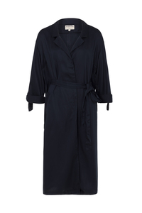Elma Duster Coat Navy Tencel - People Tree