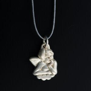 """Unikat Anhänger """"Engel"""" 925 Silber mit Fadenkettchen hellgrau - MishMish by WearPositive"""