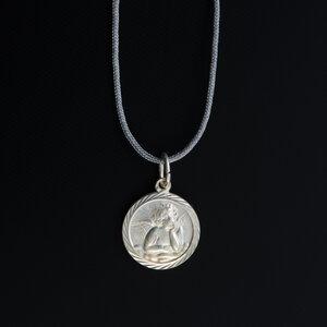 """Unikat Anhänger """"Engelchen"""" 835 Silber mit Fadenkettchen hellgrau - längenverstellbar - MishMish by WearPositive"""