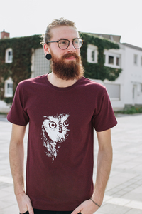 Owl 2.0 Men T-Shirt Organic Fair Wear _dark red - ilovemixtapes