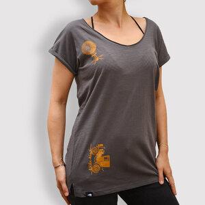 """Damen T-Shirt """"Verreisen"""", Anthracite - little kiwi"""