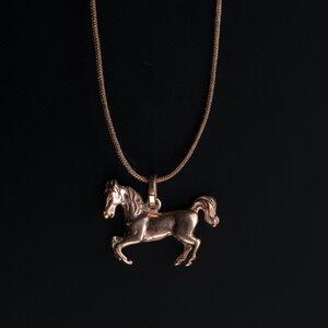 Einzelstück: Vintage Anhänger 'Pferd' Roségold mit Fadenkettchen taupe - WearPositive
