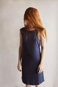 Shoulder Dress Navy - Les Racines Du Ciel