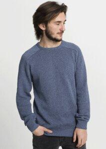 Crew Neck Knit Diamond blau - recolution