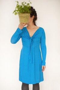 Kleid Lola, karibikblau mit kleinen weissen Punkten - Johanna Binger