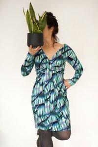 Kleid Mermaid, meergrünes Schilf Muster, aus 100% Viskose  - Johanna Binger natürlich weiblich