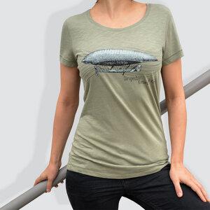 """Damen T-Shirt, """"Dirigeable"""", Light Khaki - little kiwi"""