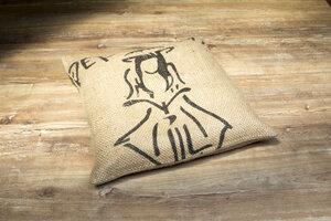 Kissen mit Bio-Kräuterfüllung und Kaffeesack Bezug  - Coffee-Up!