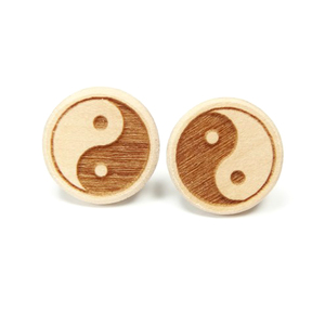 Ohrstecker Elsbeere - Naturholz (graviert) - Yin-Yang Symbol - Sacred Designs