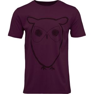 Single Jersey With Owl Print in plum - GOTS - KnowledgeCotton Apparel