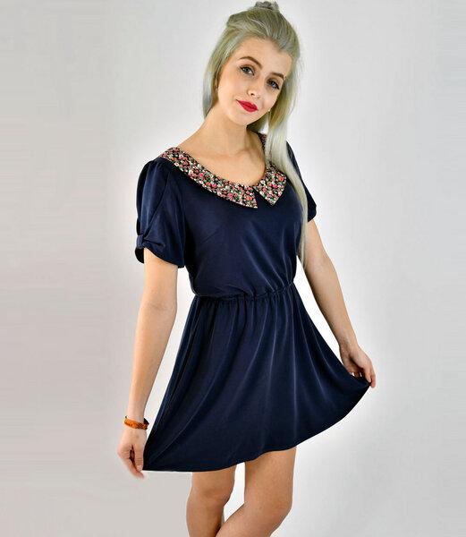 Fräulein Stachelbeere - Kurzes blaues Kleid aus weichem Modal mit ...