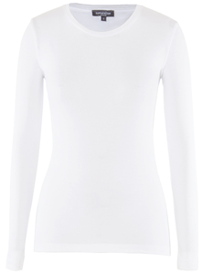 Lady Longsleeve Round Neck Bright White - Naturaline
