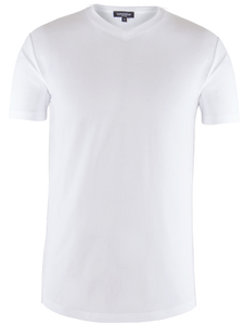 Men V-Neck T-Shirt Bright White - Naturaline
