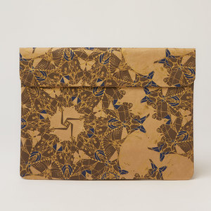 Natural Paper Notebook-Tasche | Indigo Gold & Moths - The Wren Design