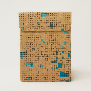 Natural Paper Notebook-Tasche | Dots & Squares Turquoise - The Wren Design