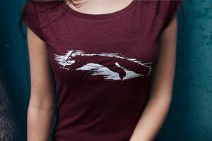 Squirrel Cap Sleeve Shirt Bio & Fair _red melange - ilovemixtapes