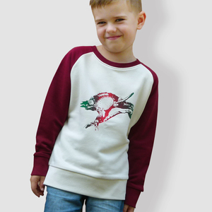 Kinder T-Shirt, 'Chamäleon', Burgundy - little kiwi