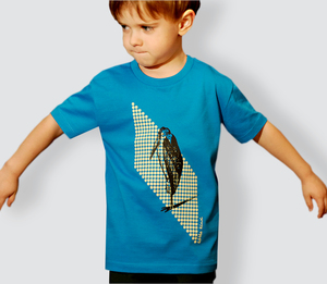Kinder T-Shirt, 'Marabu', Azur - little kiwi