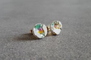 Beton Ohrstecker Snow White weiß Kristalle Glitzer Ohrringe 925 Silber - Concrete Jungle | Betonmanufaktur