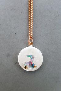 Beton Halskette Snow White weiß Kristalle 925 Silber gold rosegold - Concrete Jungle | Betonmanufaktur