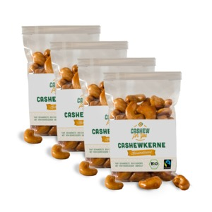 Bio-Fairtrade-Cashewkerne: Karamellisiert (4 x 75g) - Cashew for You
