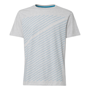 ThokkThokk Thin Striped T-Shirt deep sea & white/grey melange - THOKKTHOKK