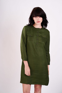 Khaki Linen Shirt Dress  - bibico