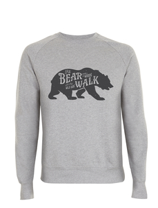 Vintage Style Bear Walk Badge Icon Unisex Pullover - California Black Plate