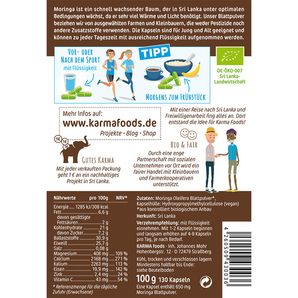 karma foods bio moringa blattpulver in kapseln 130 x 650 mg avocadostore. Black Bedroom Furniture Sets. Home Design Ideas