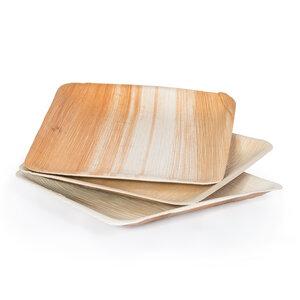 Holz Einweggeschirr Holzteller eckig 25 Stück kompostierbar - RELAXFAIR