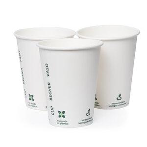 Einweggeschirr Kaffee Becher weiß 50 Stück Bio Karton - RELAXFAIR