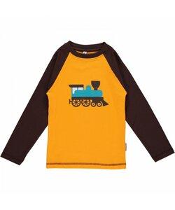 Langarm-Shirt 'Train' gelb mit Lokomotiven-Print Mädchen und Jungen - maxomorra