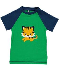 T-Shirt Kurzarm 'Tiger' grün mit Printmotiv Mädchen und Jungen - maxomorra