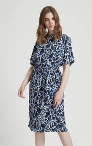 Alaina Dress - Navy Muster - People Tree